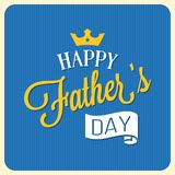 Happy father`s day calligraphic font with elements  such as ribbon and crown. Vintage card design Stock Photography