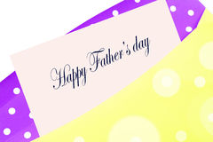 Happy Father's day card. Happy Father's day greeting card, note or letter in yellow and purple polkadot envelope Royalty Free Stock Photo