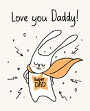 Happy Father`s Day card with bunny super dad wearing the cloak. Cartoon animal funny flat illustration. Fathers day vector flat cartoon illustration card Royalty Free Stock Image
