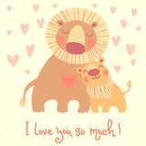 Happy Father's Day card. Cute lion and cub. Royalty Free Stock Photo