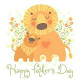 Happy Father's Day card. Cute lion and cub. Royalty Free Stock Images