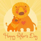 Happy Father's Day card. Cute lion and cub. Stock Images