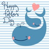 Happy Father's Day. Card with cute whales. Royalty Free Stock Photo