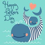 Happy Father's Day. Card with cute whales. Royalty Free Stock Photos