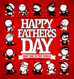 Happy Father`s day card design with many men figures different professions Stock Image
