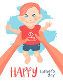 Happy father's day card. Father holds a child, boy smiling. Illustration Stock Photo