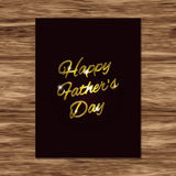 Happy Father`s Day card with golden handwritten text Royalty Free Stock Photos
