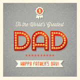 Happy Father's Day card with light bulb sign letters vector illustration