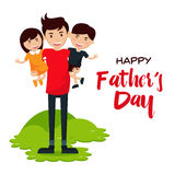Happy Father's Day Card - We Love Daddy!. Children spending time with their dad Royalty Free Stock Image