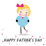 Happy Father's day card lovely girl with heart Royalty Free Stock Photo