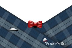 Happy Father`s Day card with necktie, white shirt on blue background stock image