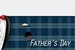 Happy Father`s Day card with necktie, white shirt on blue background royalty free stock photos