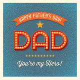 Happy Father's Day card with retro light bulb letters Stock Photos