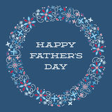 Happy Father's Day Card, Sign, Template with Masculine Wreath Royalty Free Stock Images