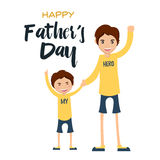 Happy Father's Day Card - Together We Can. Dad and son spending precious time together Royalty Free Stock Images