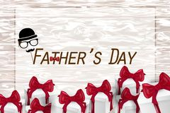 Happy Father`s Day card  on wooden background royalty free stock photos