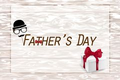 Happy Father`s Day card  on wooden background stock photo