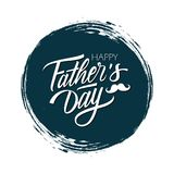 Happy Father`s Day celebrate card with handwritten lettering text design on dark circle brush stroke background. Vector illustration Stock Photos