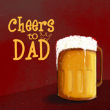 Happy fathers Day celebration with beer. Illustration of beer mug with stylish text Cheers to Dad for Happy Fathers Day celebration Royalty Free Stock Images