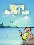 Happy Father's Day celebration with cartoon man. Royalty Free Stock Images