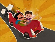 Happy Father`s Day celebration concept with Father and Son enjoy. Ing car drive on vintage rays background royalty free illustration