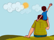 Happy Fathers Day celebration with man and his son. Happy Fathers Day celebration with illustration of a little boy sitting on his fathers shoulder on nature Royalty Free Stock Photos