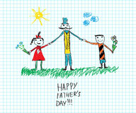 Happy Father`s day child`s drawing sketch. On sheet of paper. Vector doodle illustration Stock Image