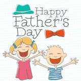 Happy Father's Day with Children Royalty Free Stock Photo