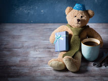 Happy father's day concept background with teddy bear dad Royalty Free Stock Image