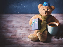 Happy father's day concept background with teddy bear dad Stock Photo