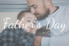 Happy father`s day concept. Father and son portrait, father`s day concept, real family Royalty Free Stock Photo