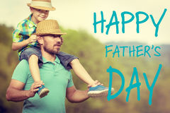 Happy father`s day concept. Father and son time, Happy father`s day concept Stock Photos