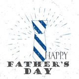 Happy Father`s Day concept with tie and Lettering Typography with burst on a Old Textured Background. Vector Stock Photo