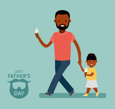 Happy Father`s Day. Dad with daughter. Greeting card Royalty Free Stock Images