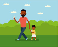 Happy Father`s Day. Dad with daughter in the Park. Stock Images