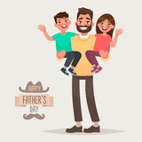 Happy Father`s Day. Dad with his son and daughter in his arms. G Stock Photography