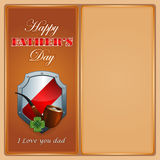 Happy Father's day, design background. With smoking pipe and stylized lucky clover on heraldic shield Royalty Free Stock Photos