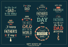 Happy Father's Day Design Collection In Retro Style. Royalty Free Stock Images