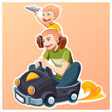 Happy father`s day. Family. Son smiling. vector illustration