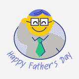 Happy Father`s Day. Fathers day greeting card. All in a single layer. Vector illustration. Flat line Stock Image