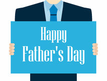 Happy Father`s Day. A festive poster with a man in a suit and tie. Vector. Illustration Stock Photos