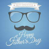 Happy father's day flat. Symbol with blue background Stock Photos