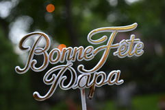 Happy Father's Day in french. Happy Father's Day, Daddy!. French accessories. Bonne fête papa, bonne fête des pères Stock Photo