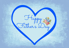 Happy Father's Day. This father's day greeting with blue heart and blue background is perfect to wish a happy fathers day Royalty Free Stock Images