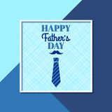 Happy Father`s Day. Greeting card with frame, lettering, mustache and necktie Stock Photography