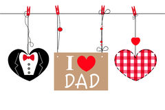 Happy Father's Day greeting card with hanging heart and i love dad text vector background Royalty Free Stock Photos