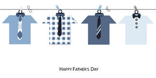 Happy Father's Day greeting card with hanging jacket vector background Stock Photos