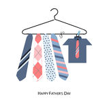 Happy Father's Day greeting card with hanging tie and shirt vector background Royalty Free Stock Images