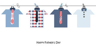 Happy Father's Day greeting card with hanging tie and shirt vector background Royalty Free Stock Image