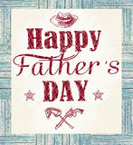 Happy father's day greeting card. Holiday card with isolated graphic elements and text in vintage style. Stock Image